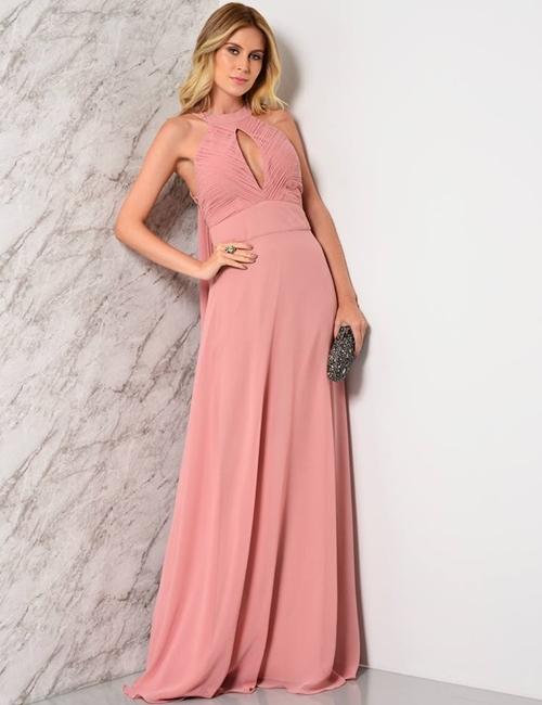 vestido longo pessego