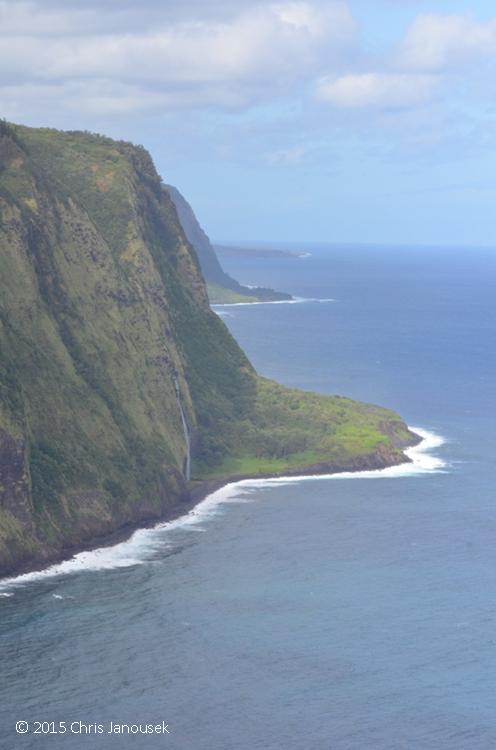 The Northwest Coast Of Hamakua From Overlook Above Waipio Valley A Waterfall Nearly Reaches Beach