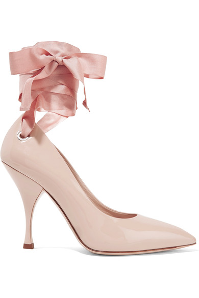 48a9f7b90327 The ribbon style has leaked into heeled shoes as well which I absolutely  love. Some daring examples from Miu Miu