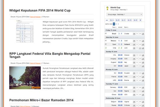 Widget blog papar keputusan terkini FIFA2014 World Cup