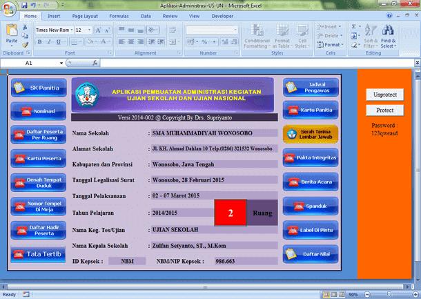 Aplikasi Pembuatan Administrasi Kegiatan US dan UN Format Microsoft Excel