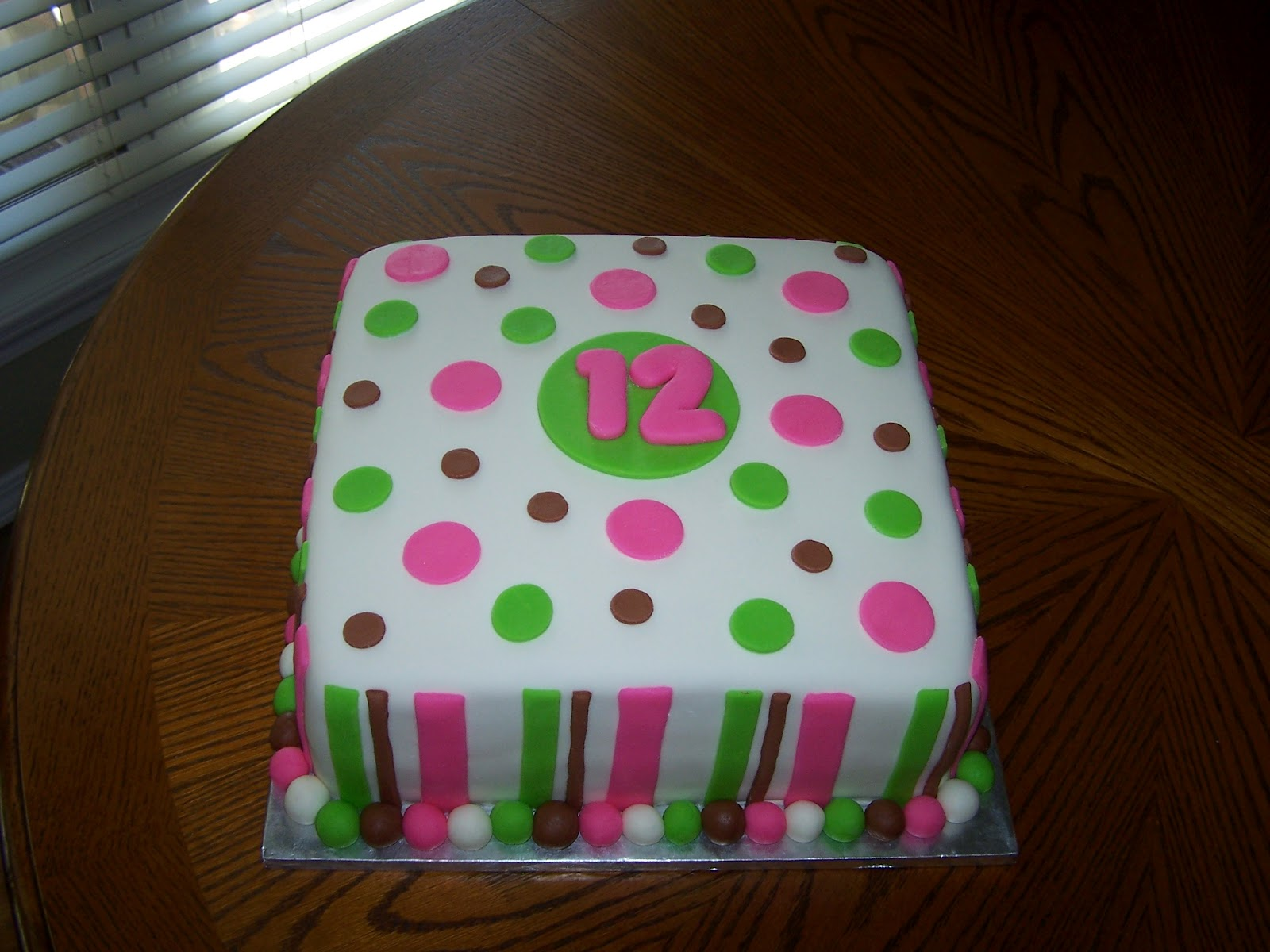12 Year Old Birthday Cake With Strips And Polka Dots