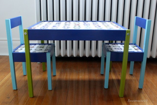 Ikea Latt chairs and table hacked with paint and fabric