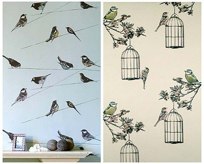 Ev'a la peche: Home style and comfy stuff: Birds wallpaper