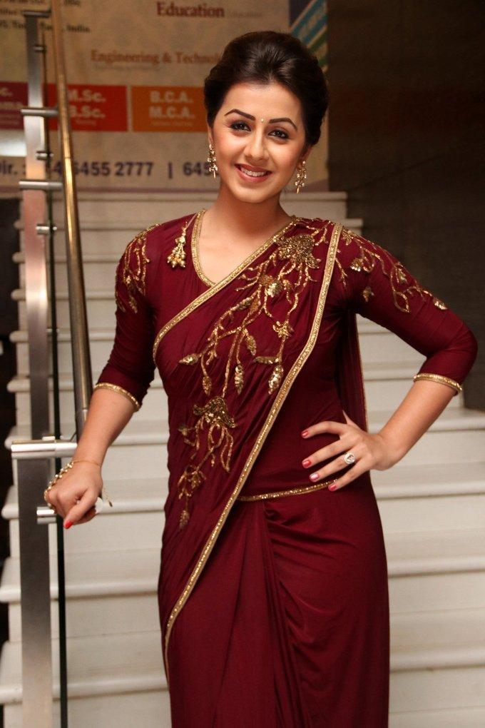 Tamil Actress Nikki Galrani In Maroon Saree At Audio Launch