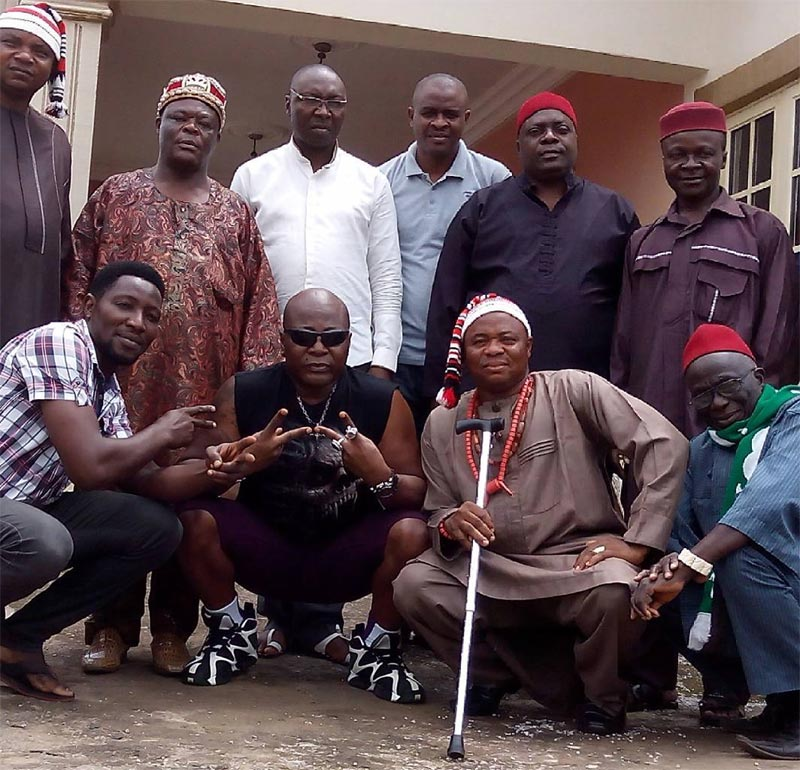 Swag! Charly Boy poses with traditional chiefs after council meeting