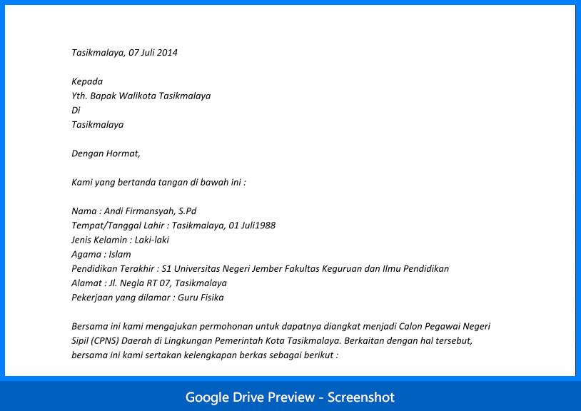 Contoh Surat Lamaran Cpns 2014