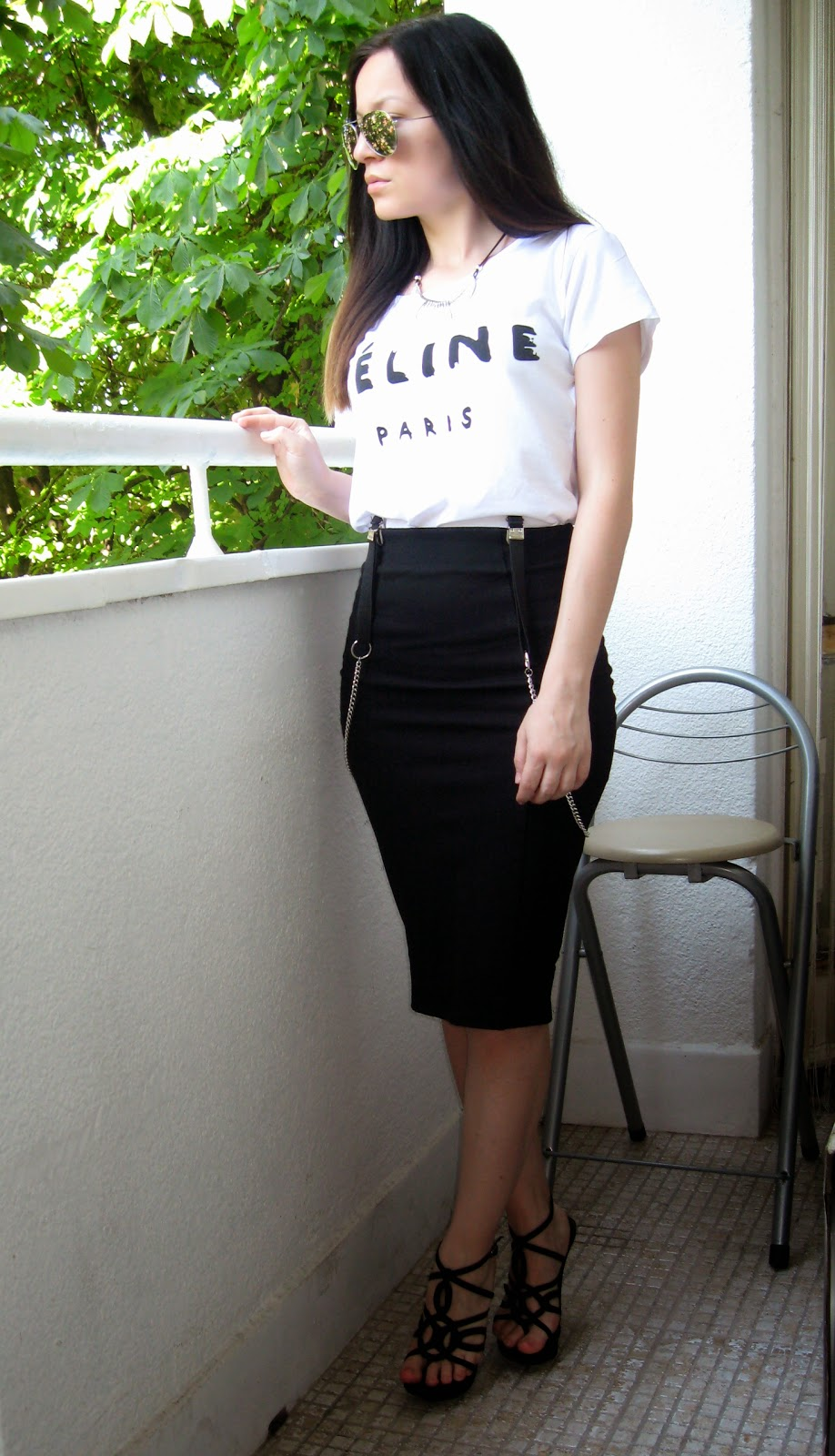 pull and bear black pencil skirt, black heel sandals, celine t shirt, aviator sunglasses, black suspenders, black and white