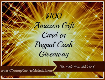 $100 Amazon Gift Card or PayPal Cash Blogger Opp. Event runs 10/18-11/8