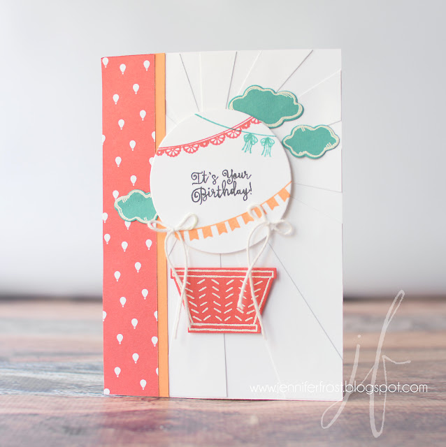Sale-a-bration, Carried Away Designer Series Paper, Sunburst Framelits, Weather Together, Any Occasion, Basket Bunch, Hot Air Balloon, Papercraft by Jennifer Frost