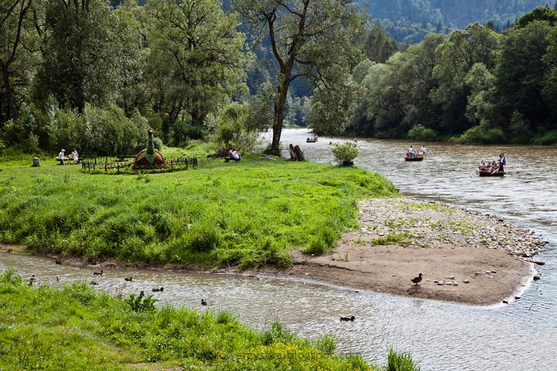 Szczawnica, Pieniński Park Narodowy, spływ Dunajcem, cypel, wyspa