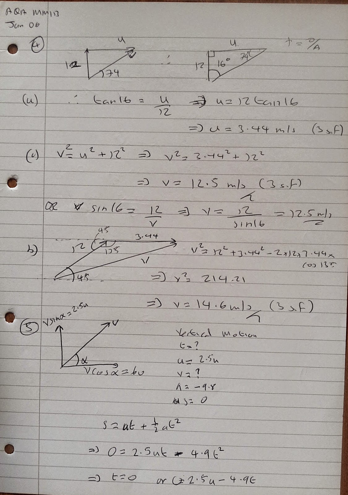A Level Maths Notes: AQA Machanics 1 (MM1B) Winter 2006