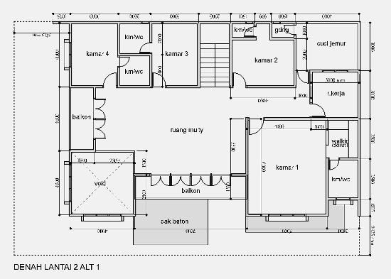 Denah rumah minimalis 2 lantai sudut dengan luas tanah 15x22 meter
