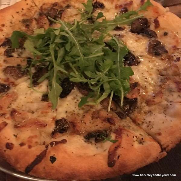 mushroom-arugula pizza at Belly Left Coast on Courthouse Square in Santa Rosa, California