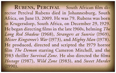 Obituary for South African filmmaker Percival Rubens.