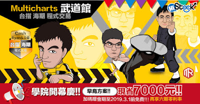 Multicharts武道館 正式開幕囉!! 早鳥方案:省7000元,加碼贈會期至2019.3.1前免費!!!