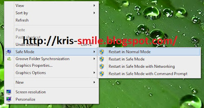 """Safe Mode"" di Context Menu Desktop di Windows 7 dan Windows 8/8.1"