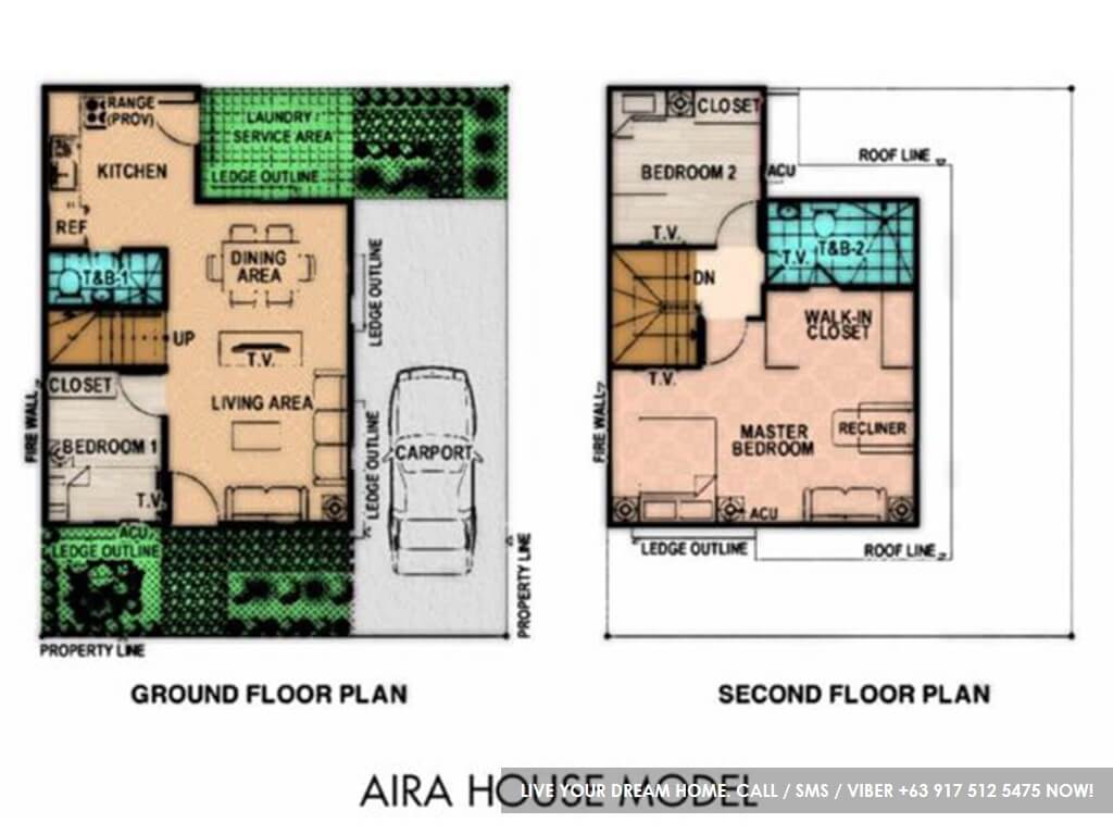 Floor Plan of Aira - Lancaster New City Cavite | House and Lot for Sale General Trias Cavite