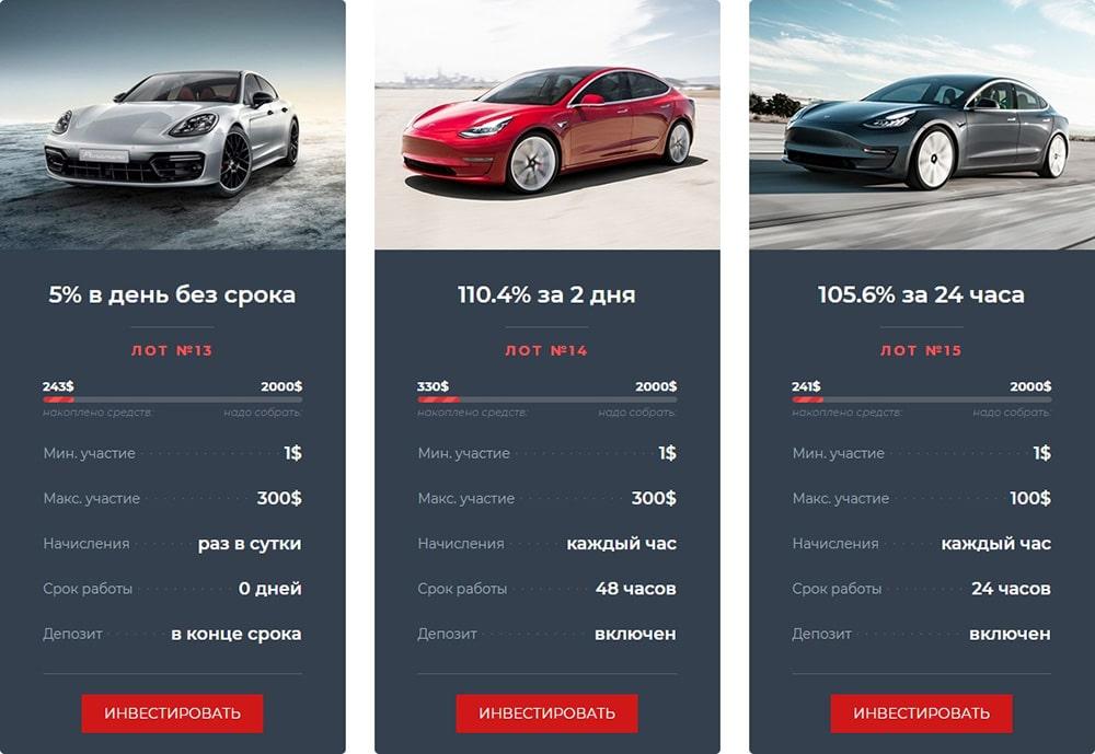 Инвестиционные планы Sportscar Finance