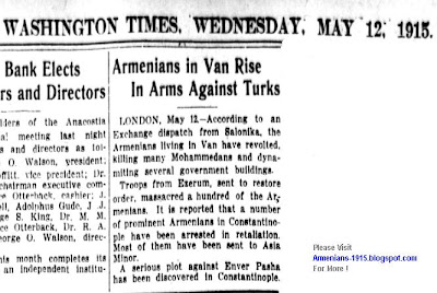 Armenians In Van Rise In Arms Against Turks -Washington Times, May 12, 1915