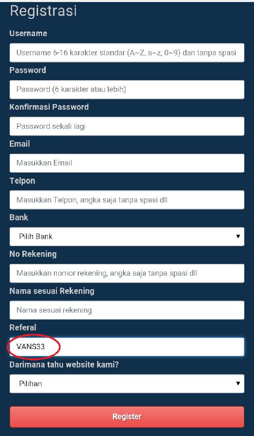 contoh Pendaftaran via wap di www.uber.com