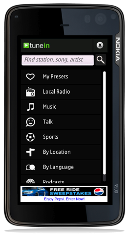 TuneIn Radio v1 0 for Symbian - listen to thousands of FM