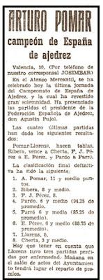 Recorte en Mundo Deportivo de 11 de julio de 1958 sobre el XXIII Campeonato de España de Ajedrez 1958
