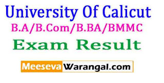 University Of Calicut B.A/B.Com/B.BA/BMMC(CUCBCSS-SDE) Sem III Exam Rev Results