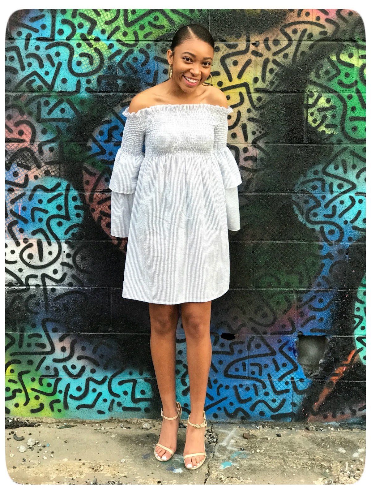 Off-The-Shoulder Shirred Dress with Tiered Bell Sleeves + Tutorial - Erica Bunker DIY Style!