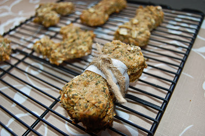 Homemade Doggie Treats with Peanut Butter,  Banana + Parsley