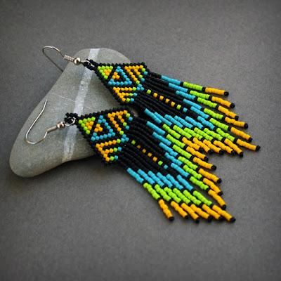 этнические серьги из бисера купить украшения из бисера в интернет магазине