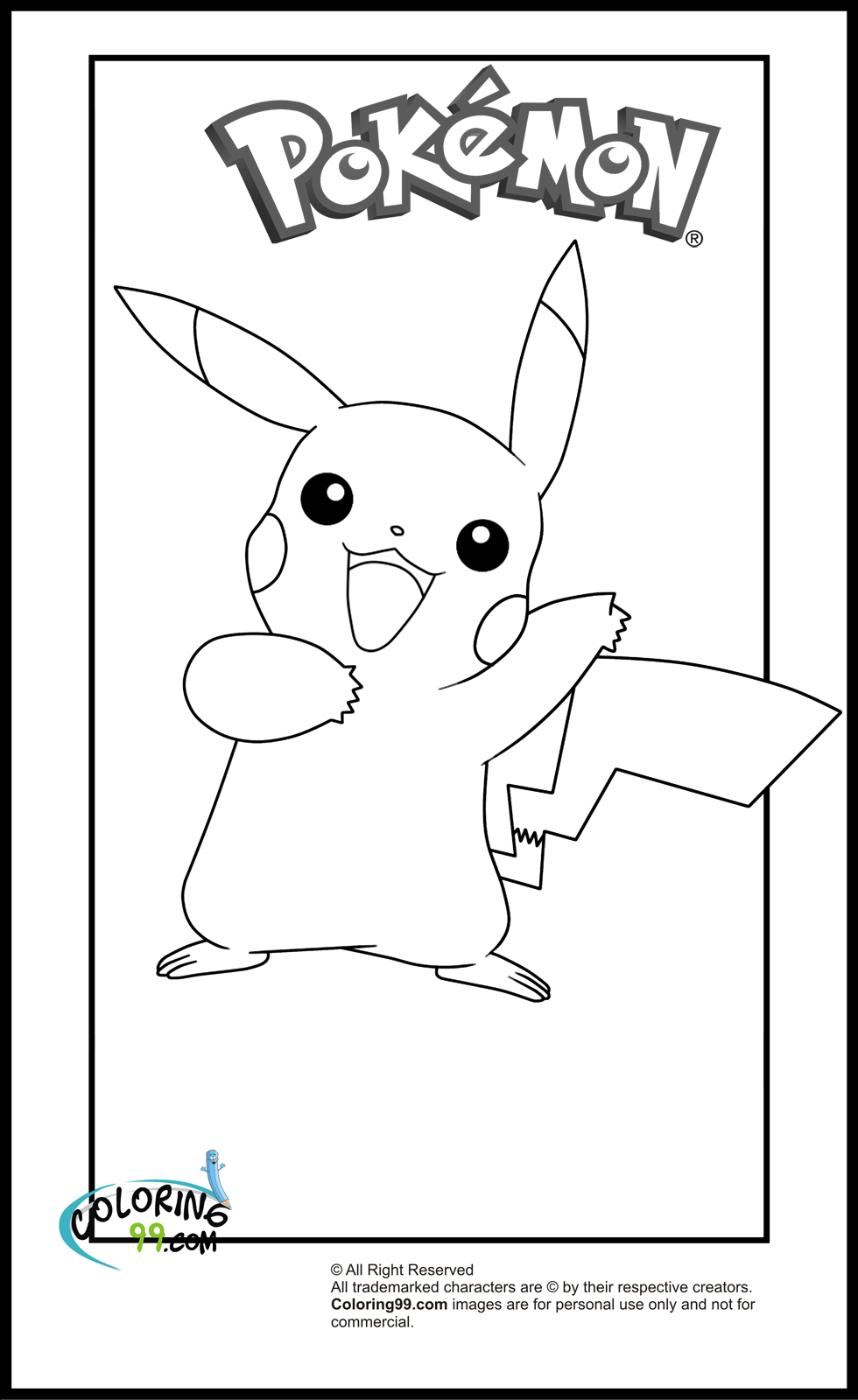 Pikachu coloring pages minister coloring for Pikachu coloring pages printable