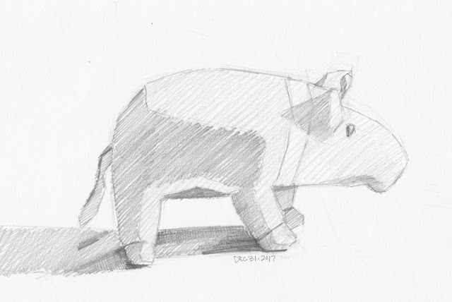 Daily Art 12-31-17 still life sketch in graphite number 89 - javelina plush toy