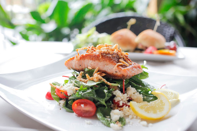 Mixed greens with Atlantic Salmon