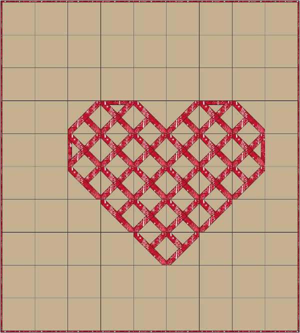 Cross-stitch heart quilt design | DevotedQuilter.blogspot.com