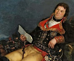 El valido, sentado y vestido de general del Ejército, tras una batalla.