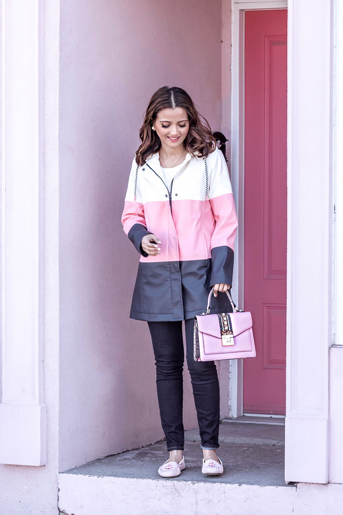 Pink and White colorblock coat pink loafers blogger outfit