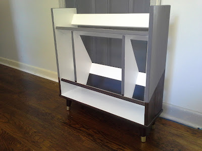 mid century modern bookshelf patchwork weathered grey white gloss kona stain brass gold feet angle shelves