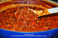 Cowboy Chili - Easy Life Neal & Party Planning - The best beef chili recipe. Shredded beef and beans with roasted peppers chili recipe.