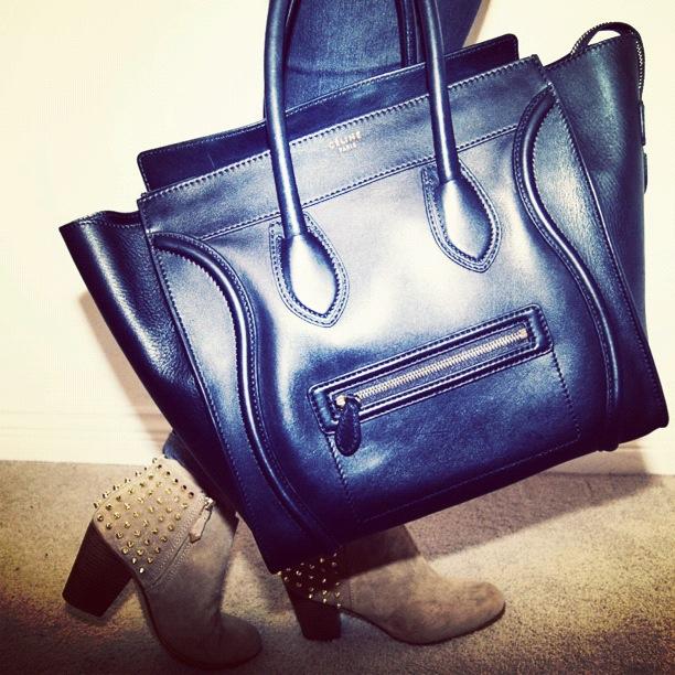 Celine mini luggage with Zara suede studded booties