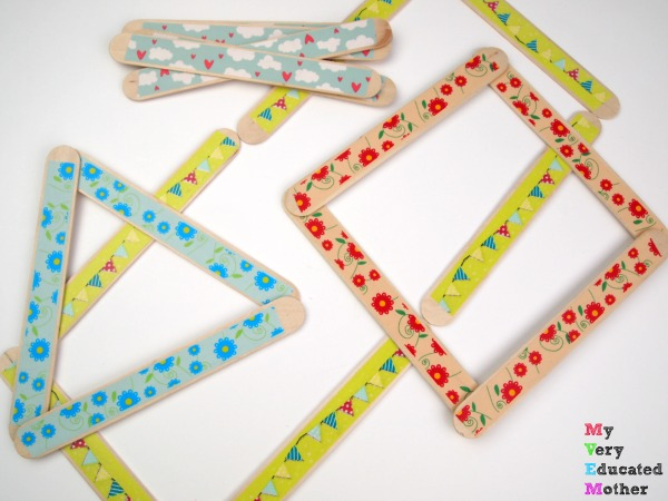 Make 7 Busy Bags Using Craft Sticks: Make a Washi Tape Shape