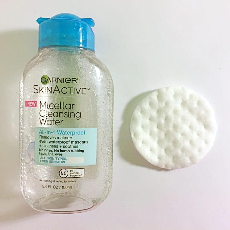 Garnier Micellar Cleansing Water and cotton pad