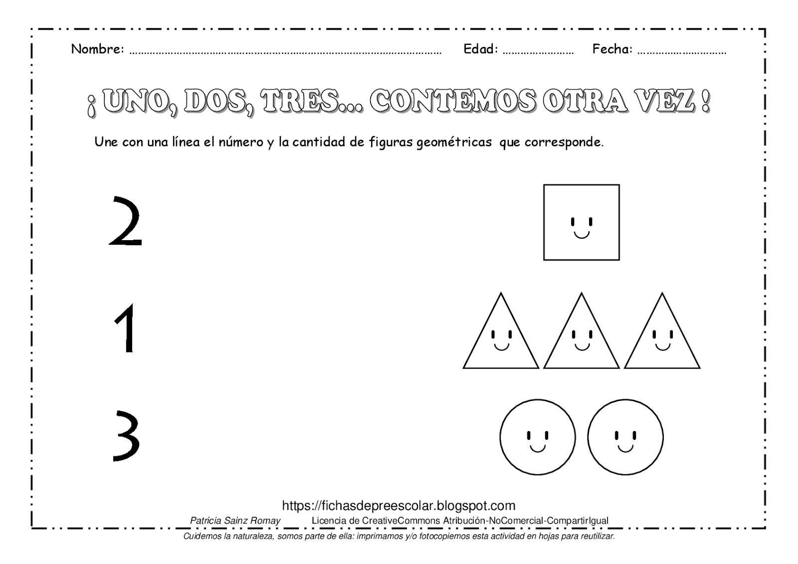 Fichas De Educacion Preescolar Conteo Del Uno Al Tres Con Figuras