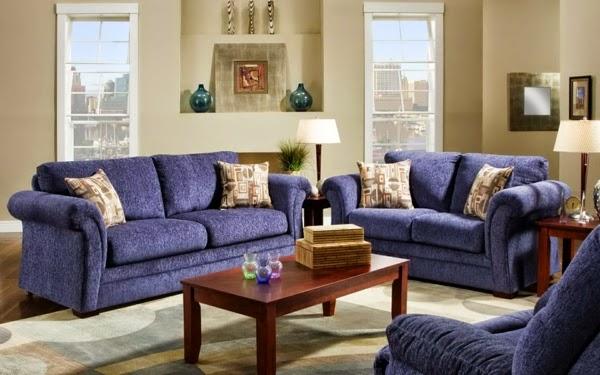 Salas decoradas con sof color azul salas con estilo for Sala gris con azul
