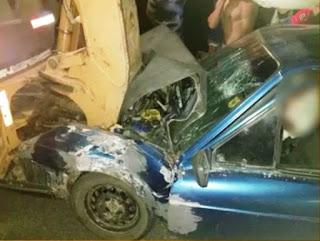 Aposentado fica ferido em colisão entre carro e retroescavadeira na PB 177 em São Vicente do Seridó