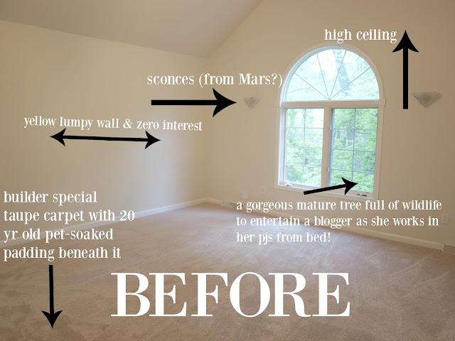 Before picture of master bedroom in Hello Lovely Studio's fixer upper