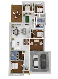 pelan rumah kampung 4 bilik