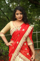 Akshara in Red Saree Golden Choli at LV Movie Makers Production No 1 Movie Opening ~  Exclusive 025.JPG