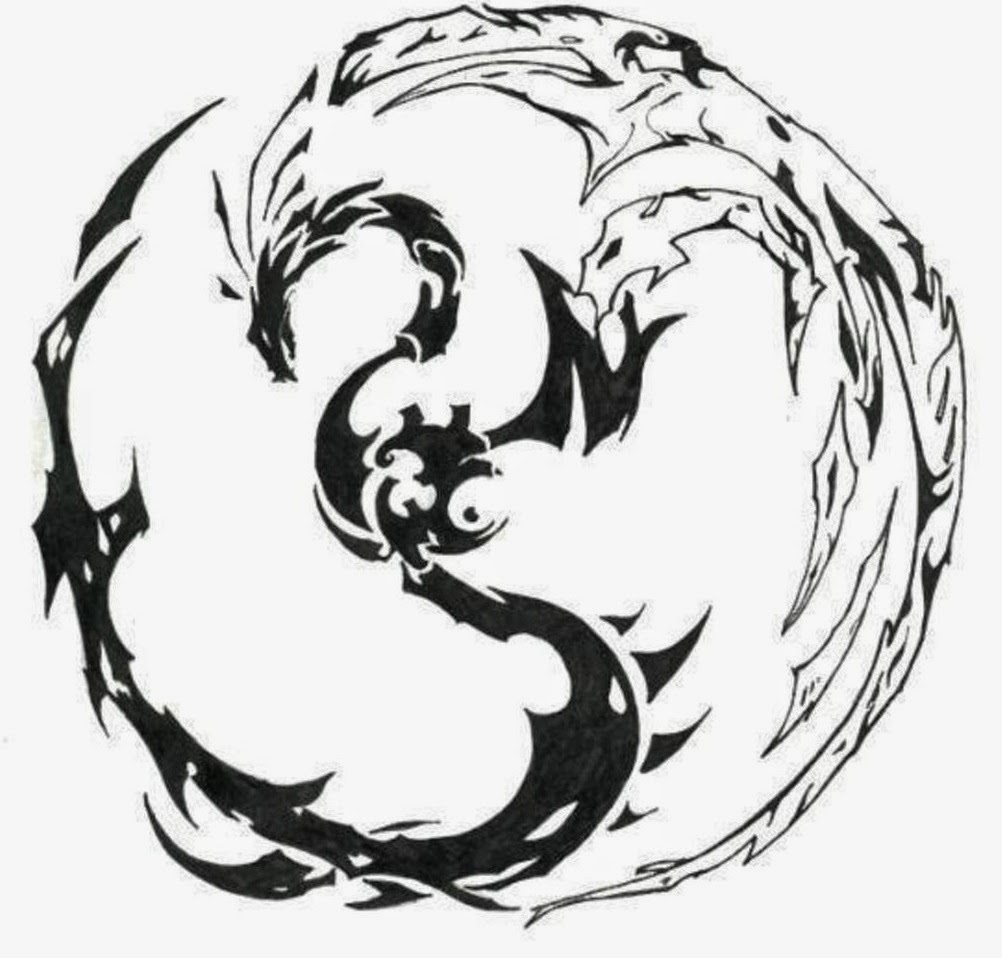 Dragon Yin-Yang tattoo stencil