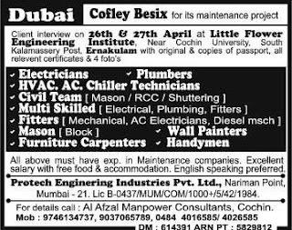 Cofley Besix maintenance jobs in Dubai